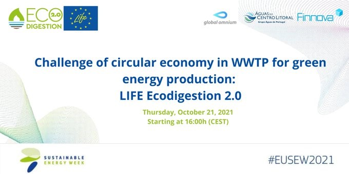 European project LIFE ECOdigestion 2.0 takes part in the 'Challenges of the Circular Economy in WWTP for Green Energy Product' webinar during EU Sustainable Energy Week